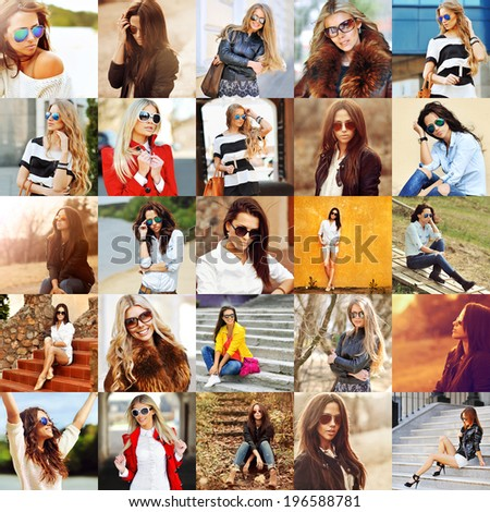 Group portraits of fashion women in sunglasses  - stock photo