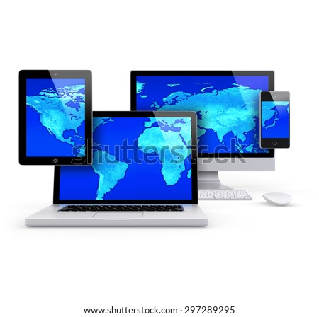 Group Render of a tablet pc, laptop, Desktop and smartphone, with a blue world map on the screens. - stock photo