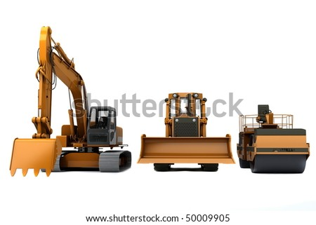 Group road machinery for road construction - stock photo