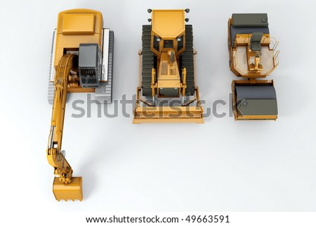 Group road machinery for road construction. Top view. On grey - stock photo