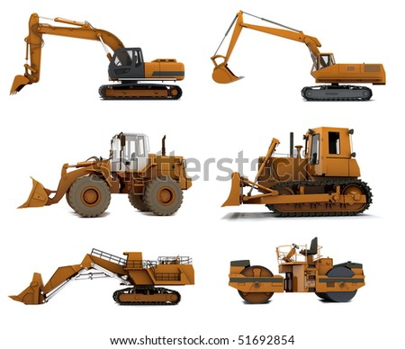 Group Road machinery isolated on white background - stock photo