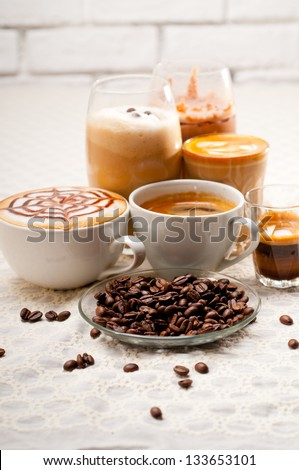 group selection of different Italian coffee type - stock photo