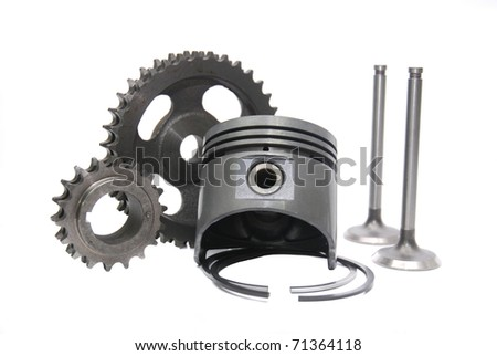 group set of automotive engine sparepart combining piston,timing gear and valve - stock photo