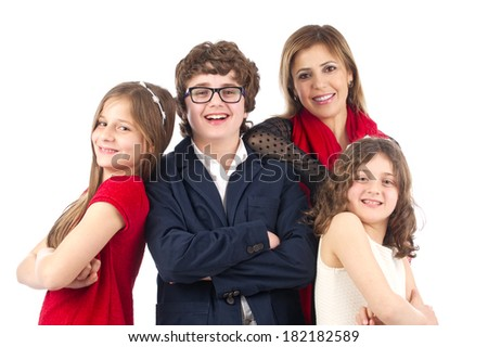 Group shot of a family isolated on white - stock photo
