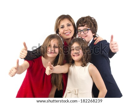 Group shot of a family with thumbs up  isolated on white  - stock photo