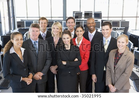 Group Shot Of Stock Traders - stock photo
