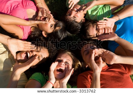 group shouting - stock photo