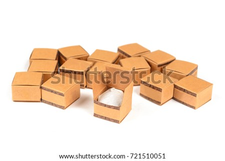 group small cardboard boxes. isolated on white