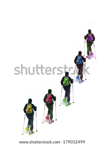 Group snowshoe colors on a white background - stock photo