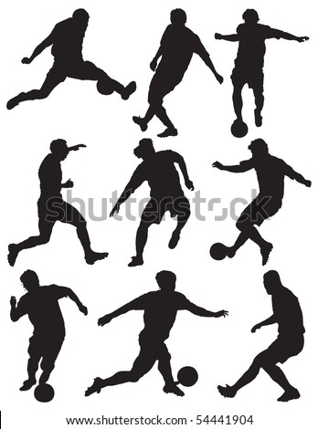 Group soccer player - stock photo