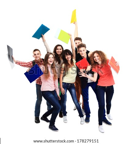 Group student with notebook isolated  - stock photo