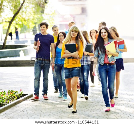 Group student with notebook on outdoor. - stock photo