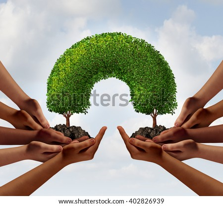Group success business concept as two groups of diverse people making a connection with 3D illustration trees that link together as a metaphor for global cooperation or environment teamwork. - stock photo