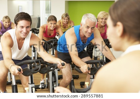 Group Taking Part In  Class In Gym - stock photo