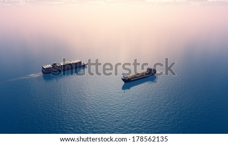Group tankers move into the sea. - stock photo