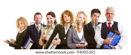 Group team with many different happy business people - stock photo