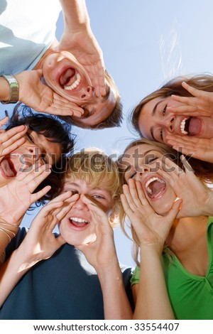 group teens with healthy teeth - stock photo