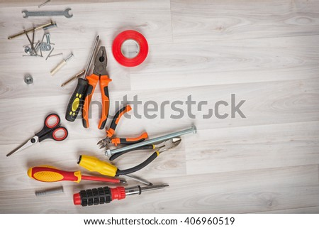 group tools on wooden background - stock photo