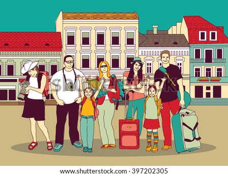 Group tourists people color in abstract city street. Color illustration.
