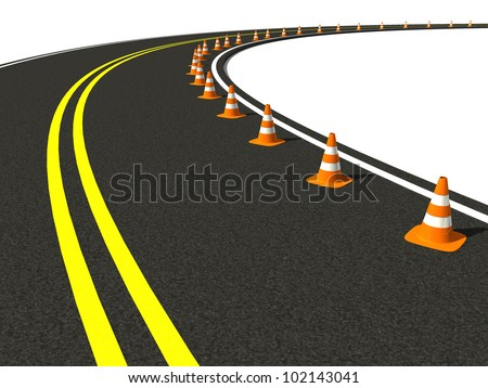 group traffic cone on winding road - stock photo