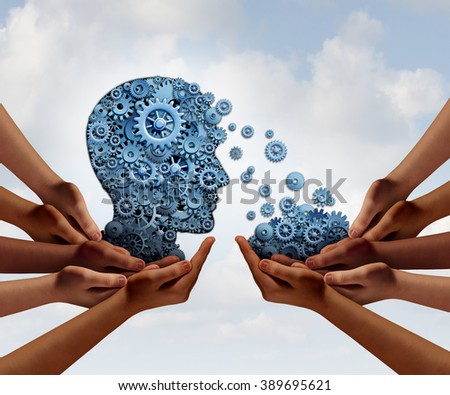 Group training and skill development business education concept with many diverse hands holding a bunch of gears transferring the wheels to a human head made of cogs as a symbol for team learning. - stock photo