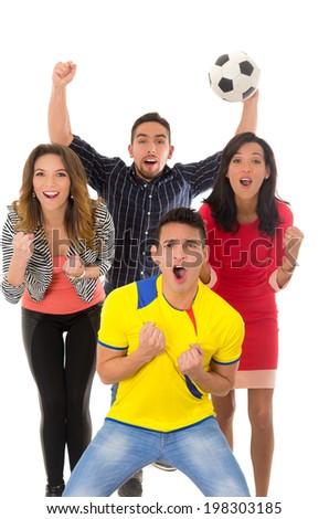 group watching football match goal - stock photo