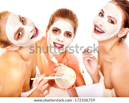 Group woman getting facial mask and gossip . Isolated.