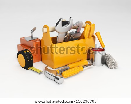 Group working tools close-up. - stock photo