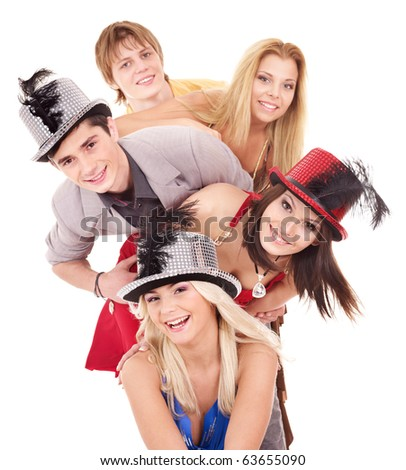 Group young people in party hat. Isolated. - stock photo