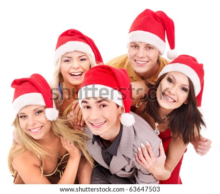 Group young people in santa hat. Isolated. - stock photo