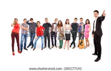 Group young smiling people - stock photo