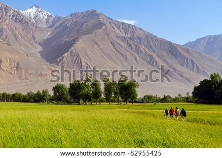 Groupe of tourists in the field of Pamirs. View of afghan mountains - stock photo