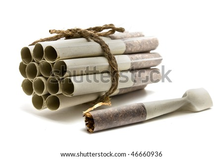 grouped cigarettes  on a white background - stock photo