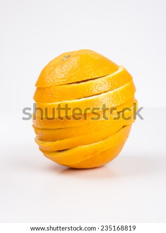 Grouped sliced Orange fruit