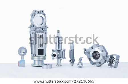 Groupf Valves, Threaded End Safety, Relief Valves, Butterfly Valves, Panel sliders, Disco Type Check Valves - stock photo