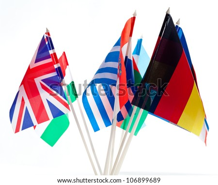 Grouping of various flags of the world - stock photo
