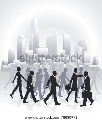 Groups of business people rushing in front of city skyline - stock photo