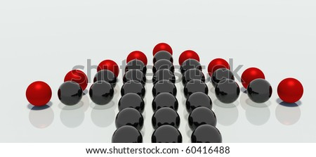 Groups of mirrored balls in the shape of arrow and headed with the red balls, indicate a single point in space - stock photo