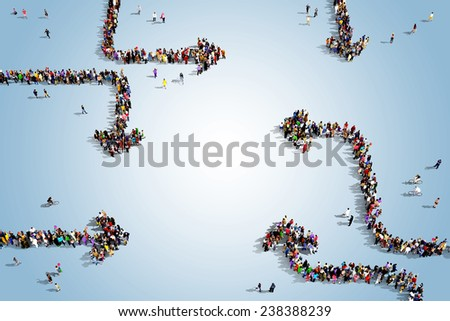 Groups of people seen from above gathered as arrows in an infographic layout, standing on a bluish background - stock photo