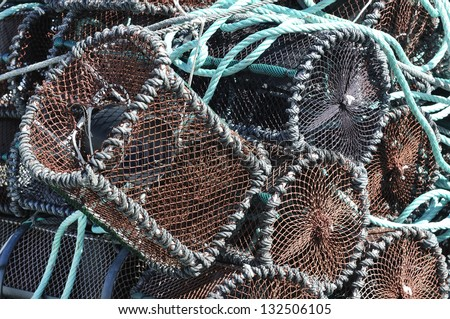 groups of traditional traps for capture fisheries and seafood on the Galician coast - stock photo