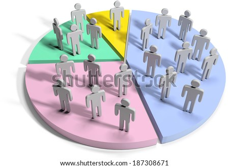 Groups people as financial marketing data statistics on pie chart - stock photo