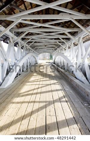 Groveton Covered Bridge (1852), New Hampshire, USA - stock photo