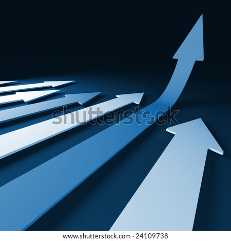 grow 3d  arrow stat financial graph background - stock photo