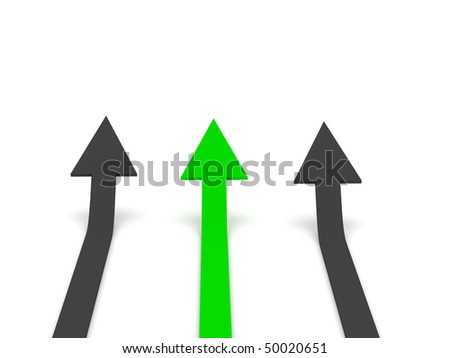 Grow 3d arrow stat. Green and grey arrows isolated on white background. High quality 3d render. - stock photo