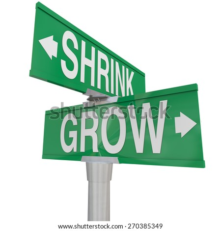 Grow Vs Shrink words on two green road or street signs to show the opposite directions of improving or worsening, increase vs decrease and getting bigger or smaller - stock photo
