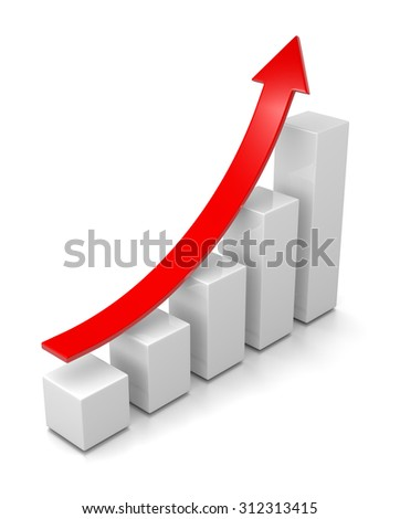 Growing Bar Chart with Rising Red Arrow 3D Illustration on White Background - stock photo