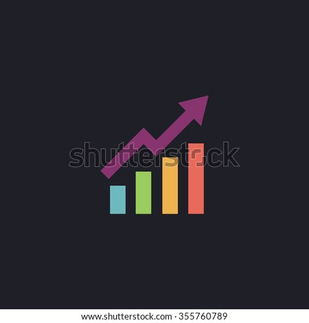 Growing bars graphic with rising arrow. Color flat icon on black background