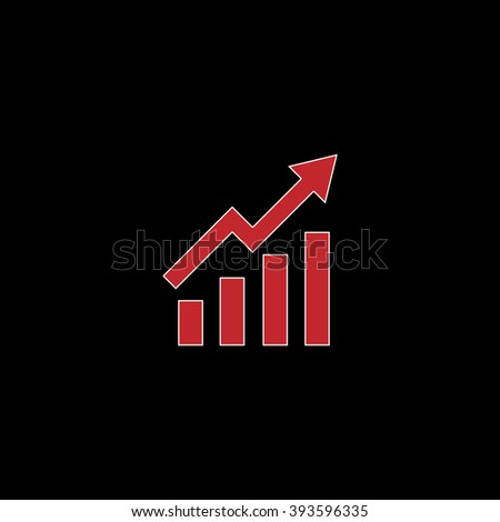 Growing bars graphic with rising arrow. flat symbol pictogram on black background. red simple icon with white stroke