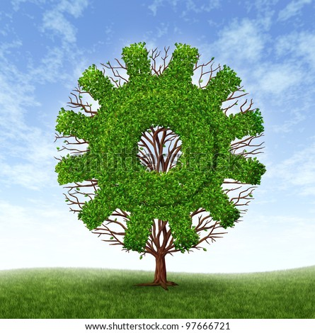 Growing business concept with a tree and branches with leaves in the shape of a machine gear or cog as an industrial symbol of financial success through investment and leadership on a blue sky. - stock photo