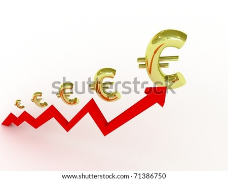 Growing business graph with euro symbols - stock photo